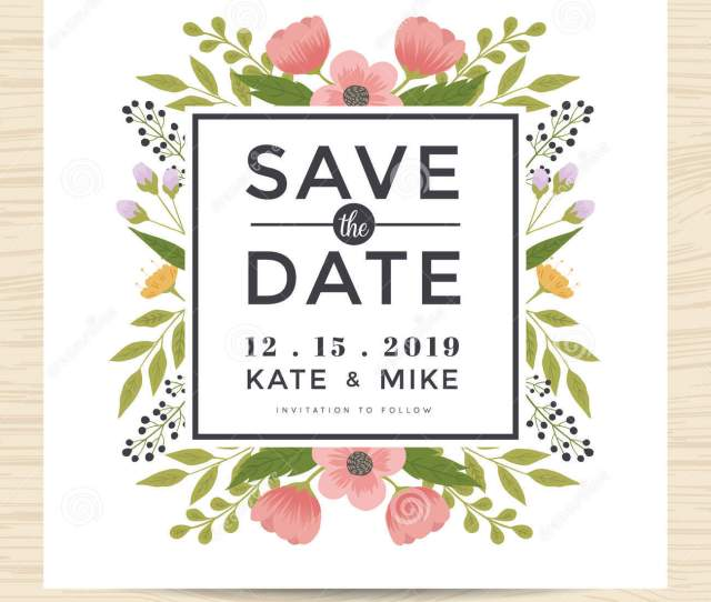 Save The Date Wedding Invitation Card Template With Hand Drawn Wreath Flower Vintage Style Flower Floral Background Vector Illustration