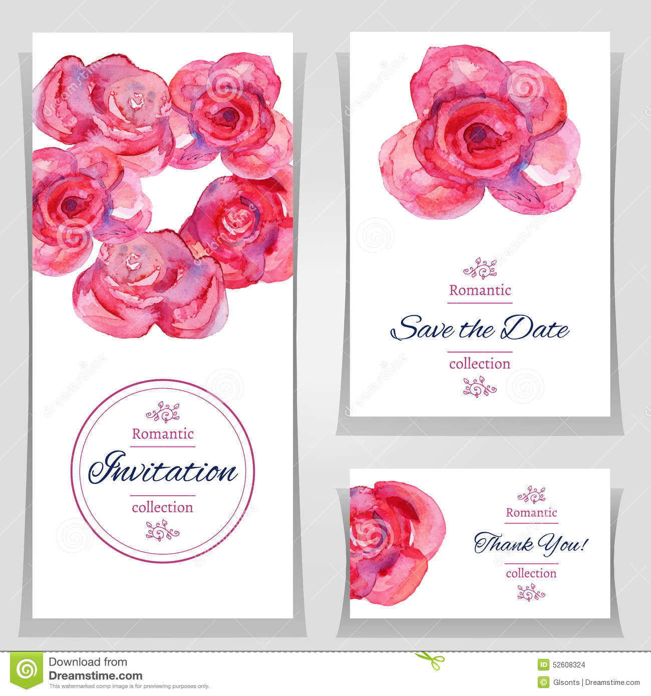 Save The Date Or Wedding Invitation Templates With Red