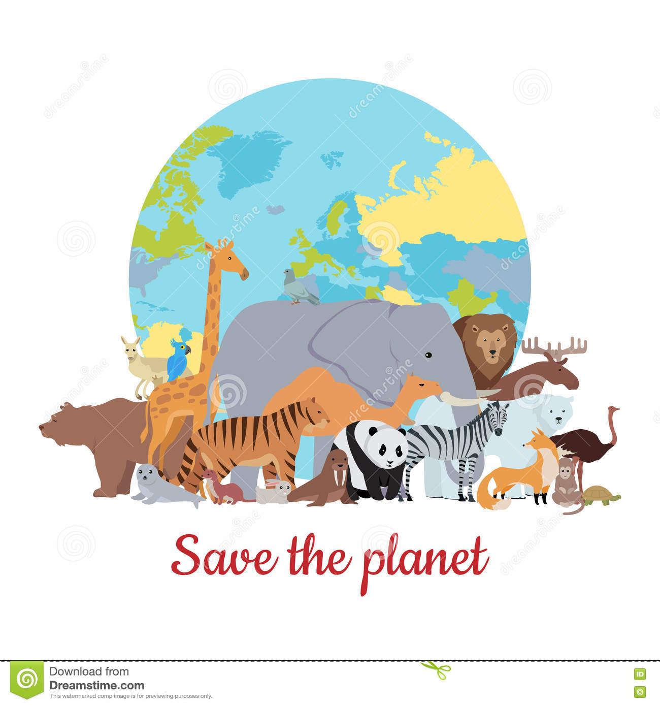 Save The Planet Banner Stock Vector Illustration Of Panda