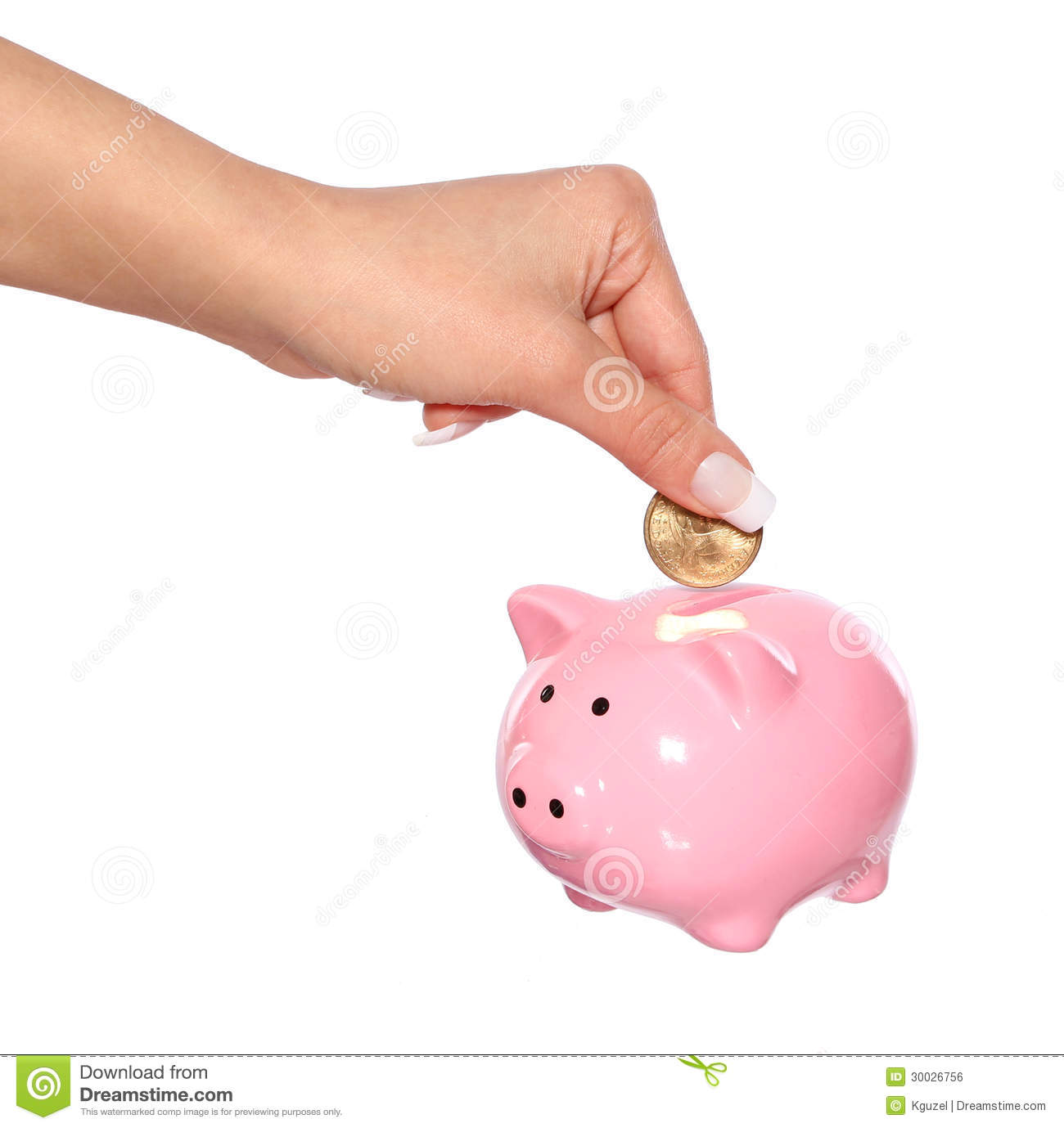 Saving Money Female Hand Is Putting Coin Into Piggy Bank