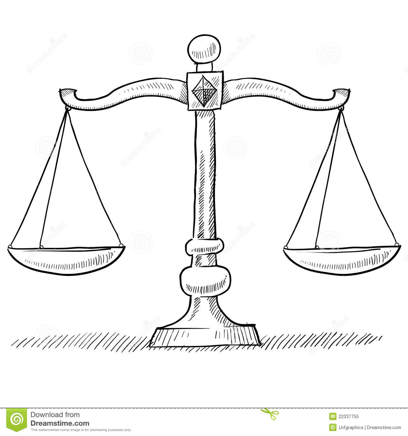 Scales Of Justice Sketch Stock Vector Illustration Of