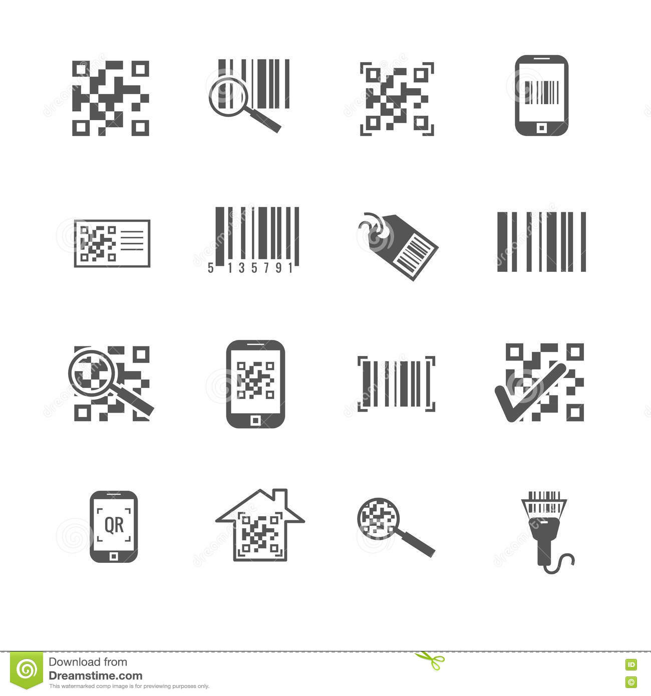 Scan Bar And Qr Code Vector Icons Stock Vector