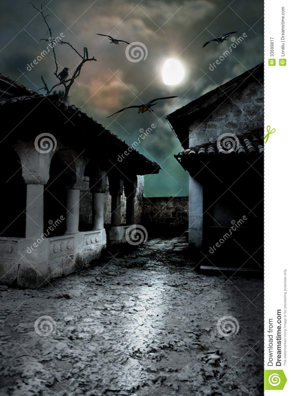 Scary Dark Courtyard In The Ominous Moonlight Royalty Free