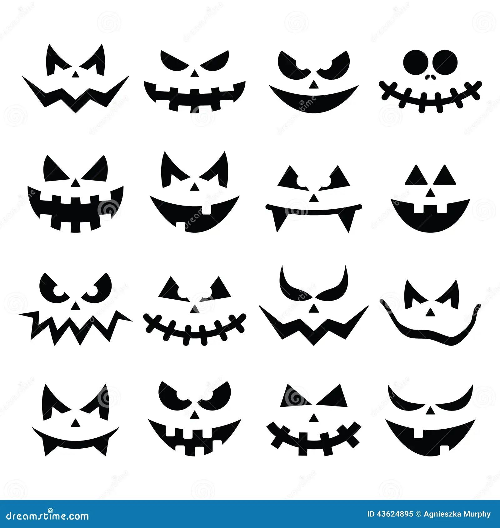 Scary Halloween Pumpkin Faces Icons Set Stock Illustration