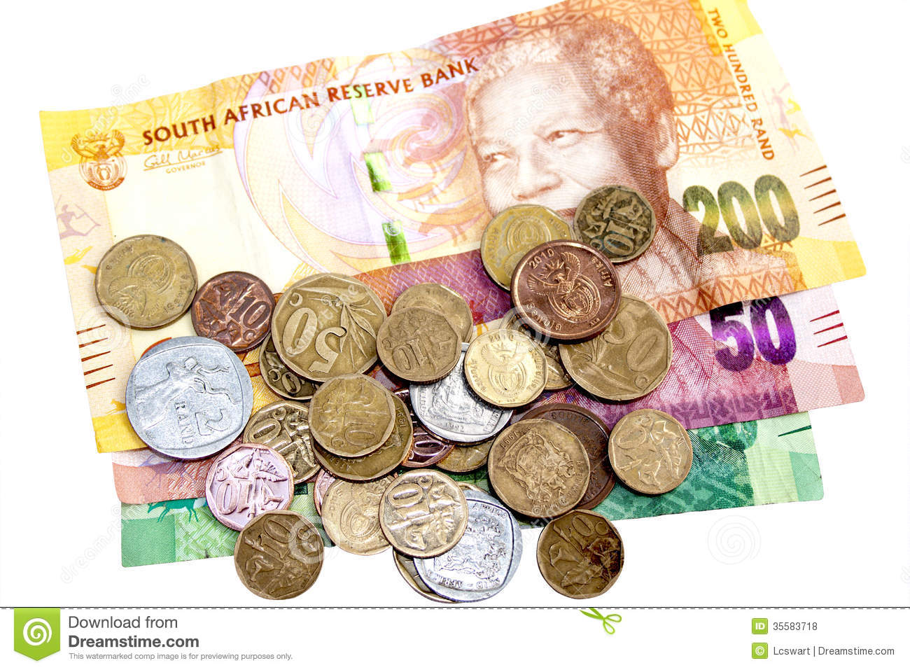 Scattered Coins On Three South African Bank Notes Stock