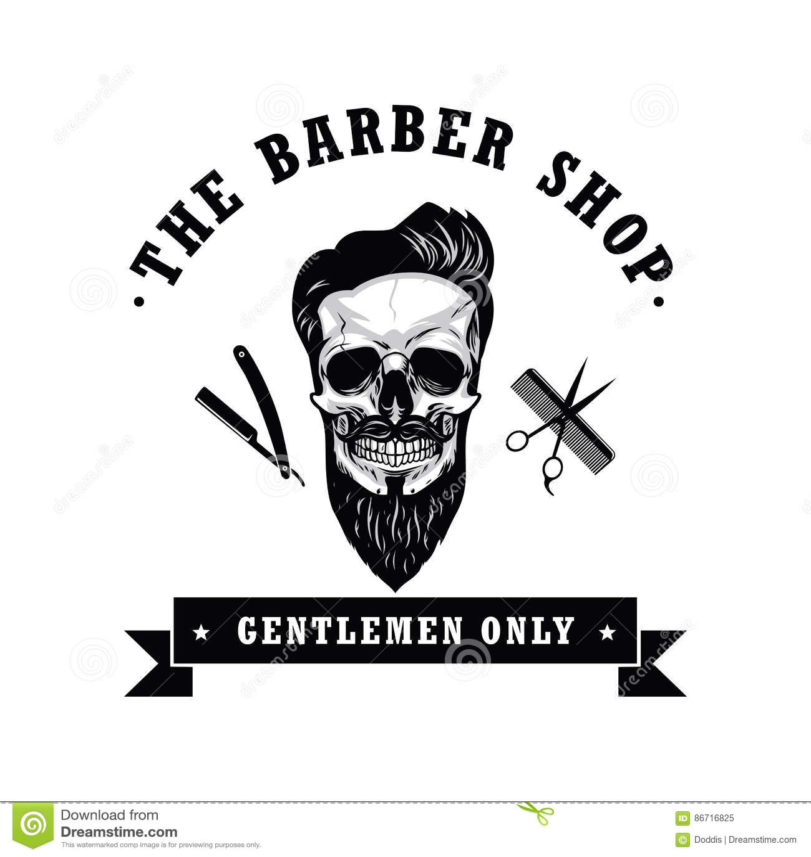 Schadel Weinlese Barber Shop Logo Design Template Vektor