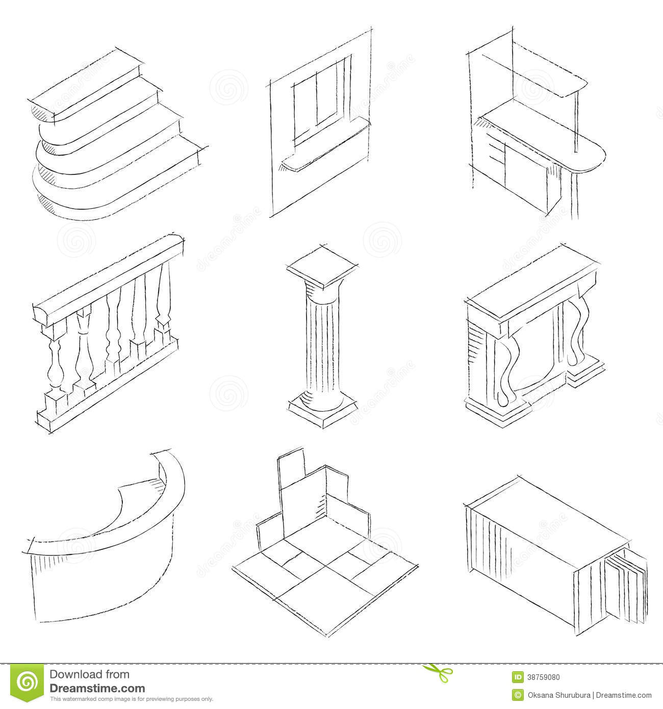 Schematic Drawing Of Stone Products Stock Photo