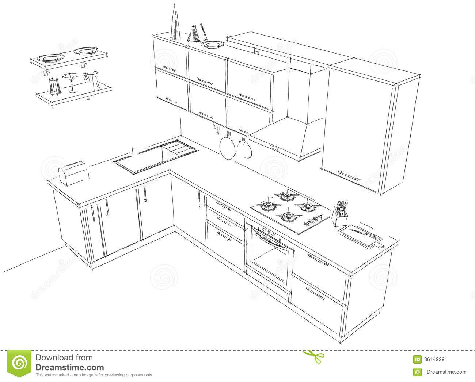 Schizzi Il Disegno Del Layout Di In Bianco E Nero Interno Della Cucina D Angolo Moderna 3d