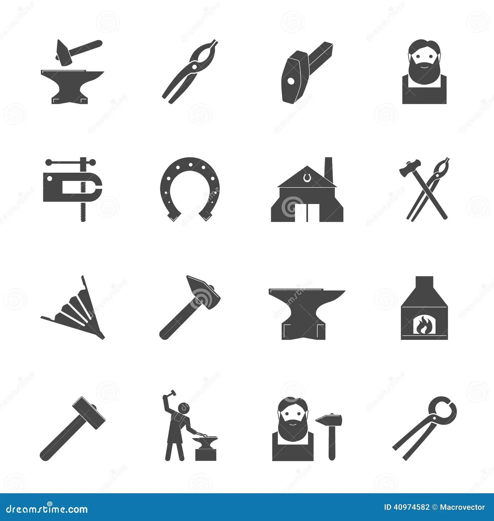 Schmied Icons Set Vektor Abbildung Illustration Von Eisen
