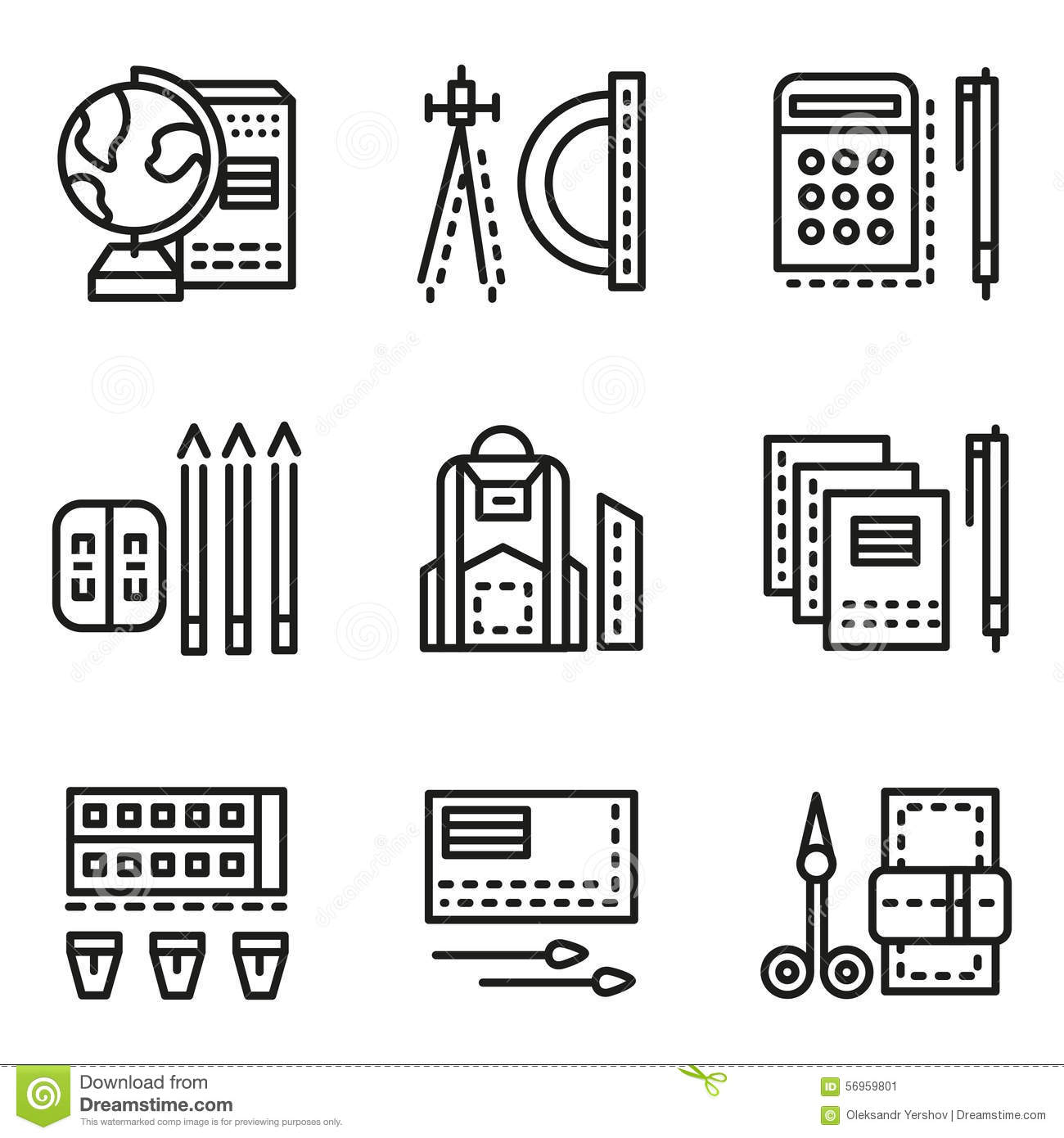 Set Of Flat Design Items For Stationary Vector