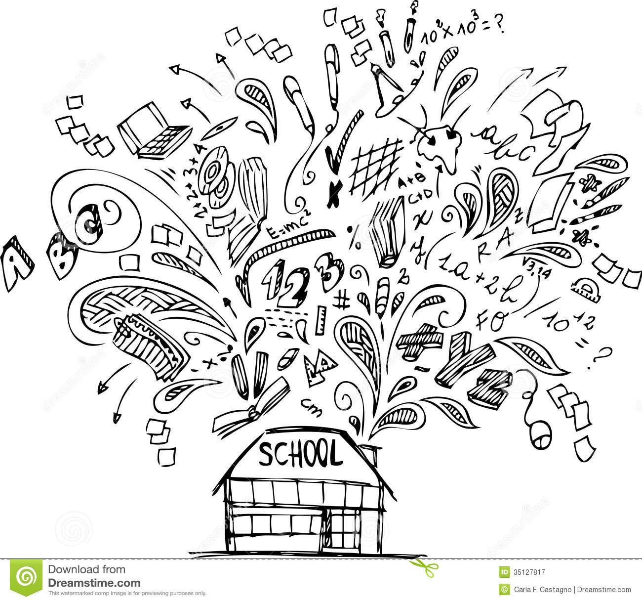 School Building With Doodles Royalty Free Stock