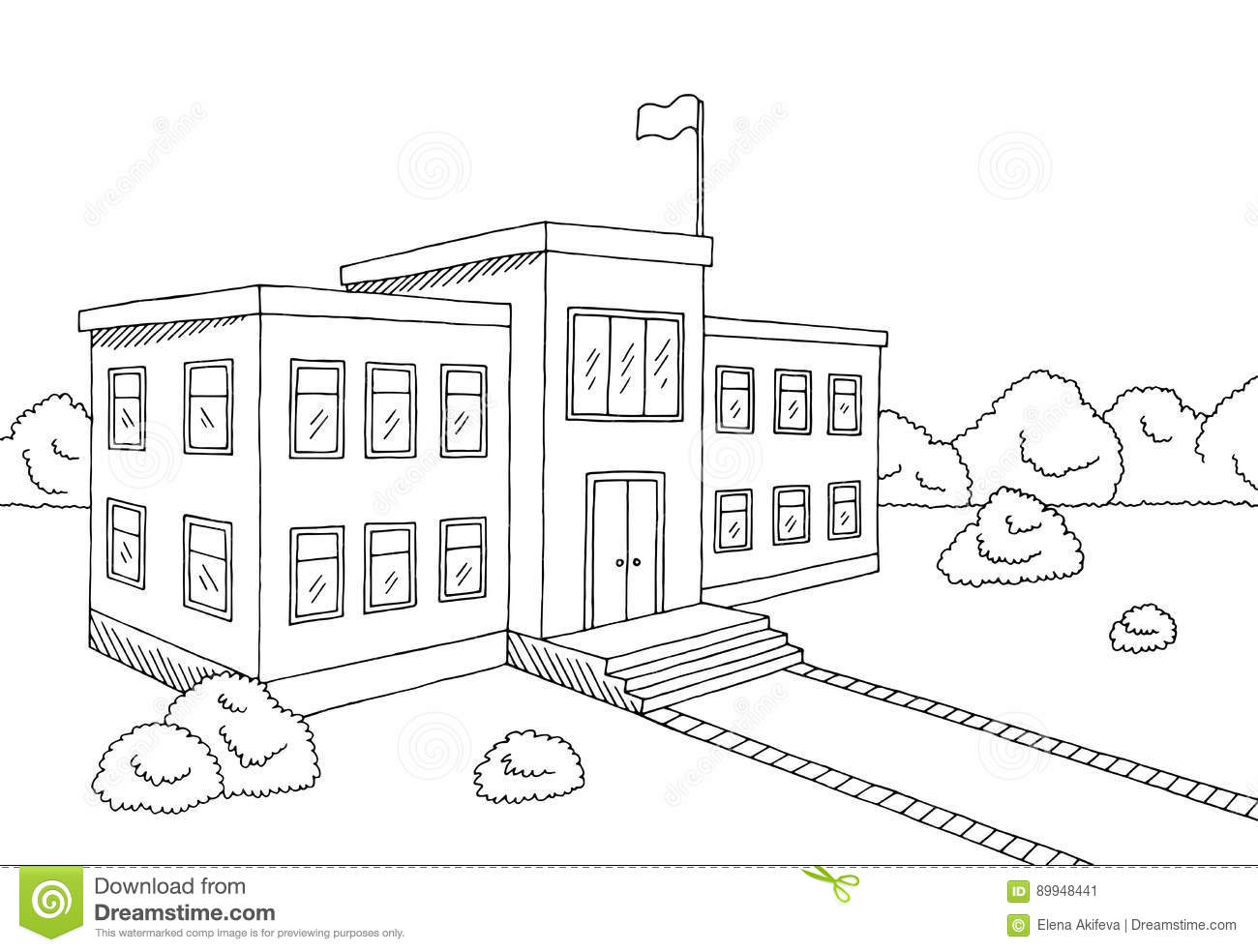 School Building Graphic Black White Sketch Illustration