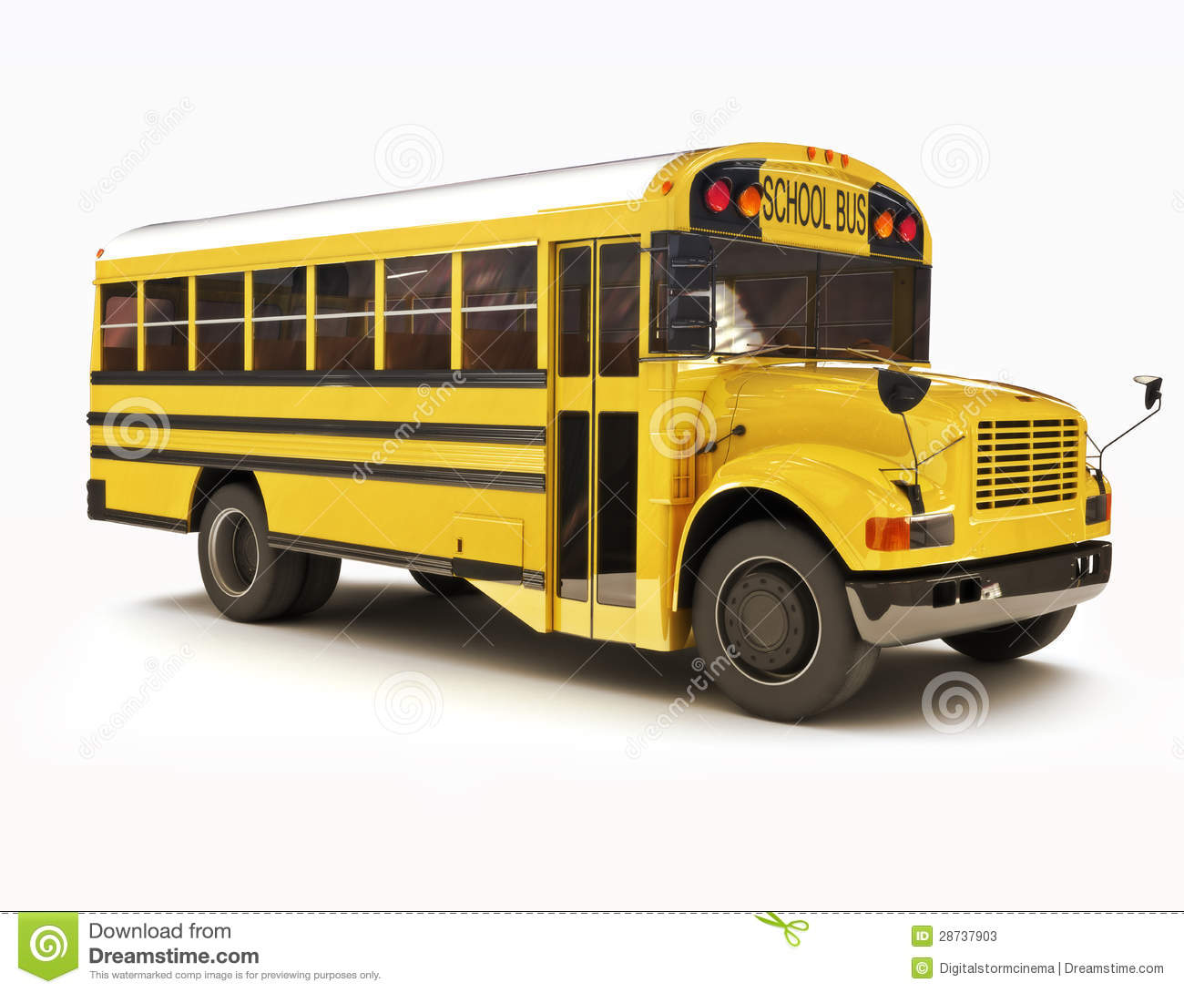 School Bus With White Top Stock Illustration Illustration