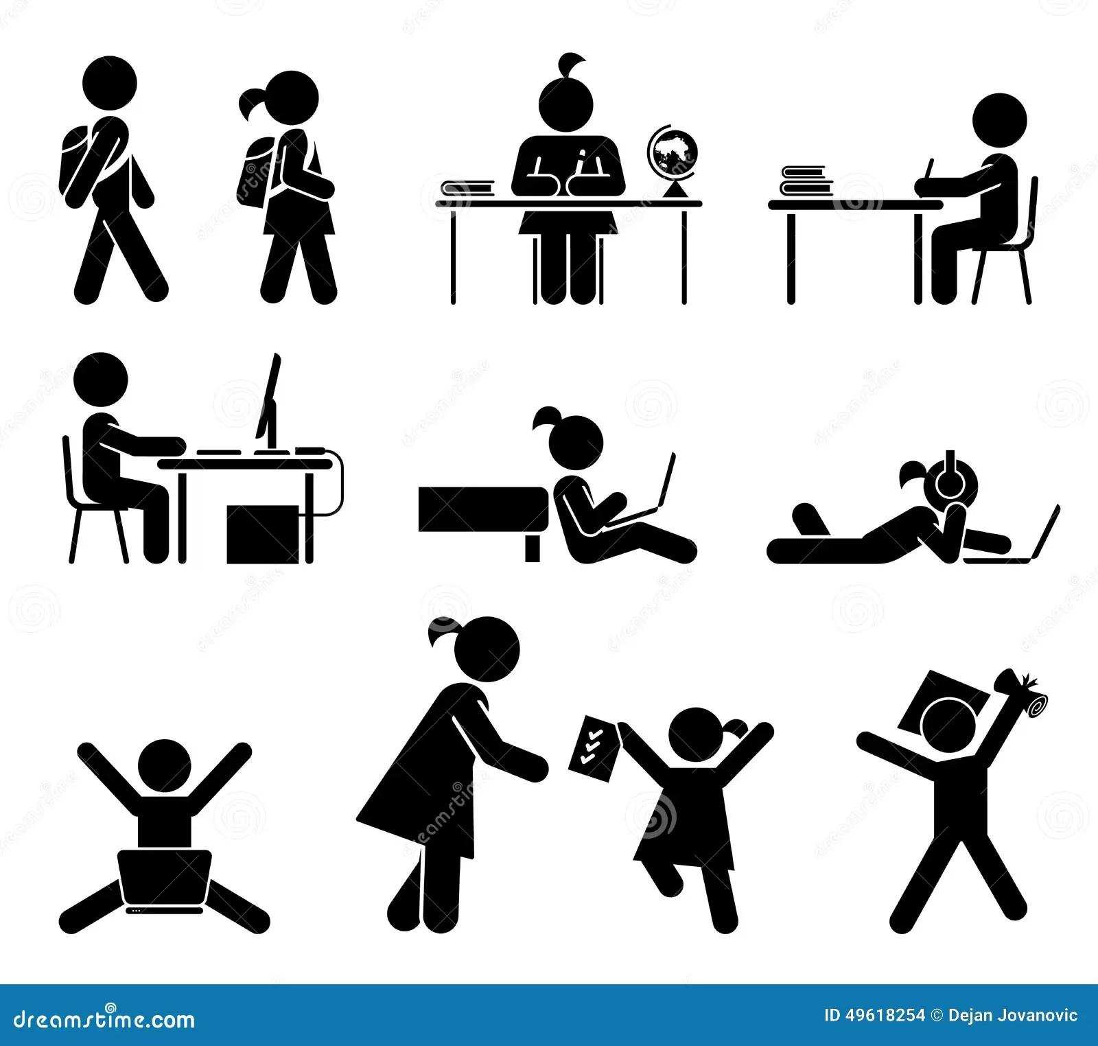School Days Pictogram Icon Set School Children Stock