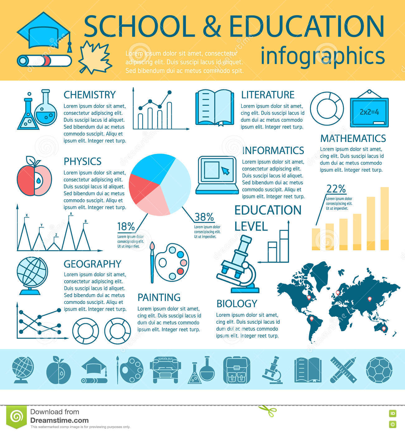School Education Linear Infographics Stock Vector