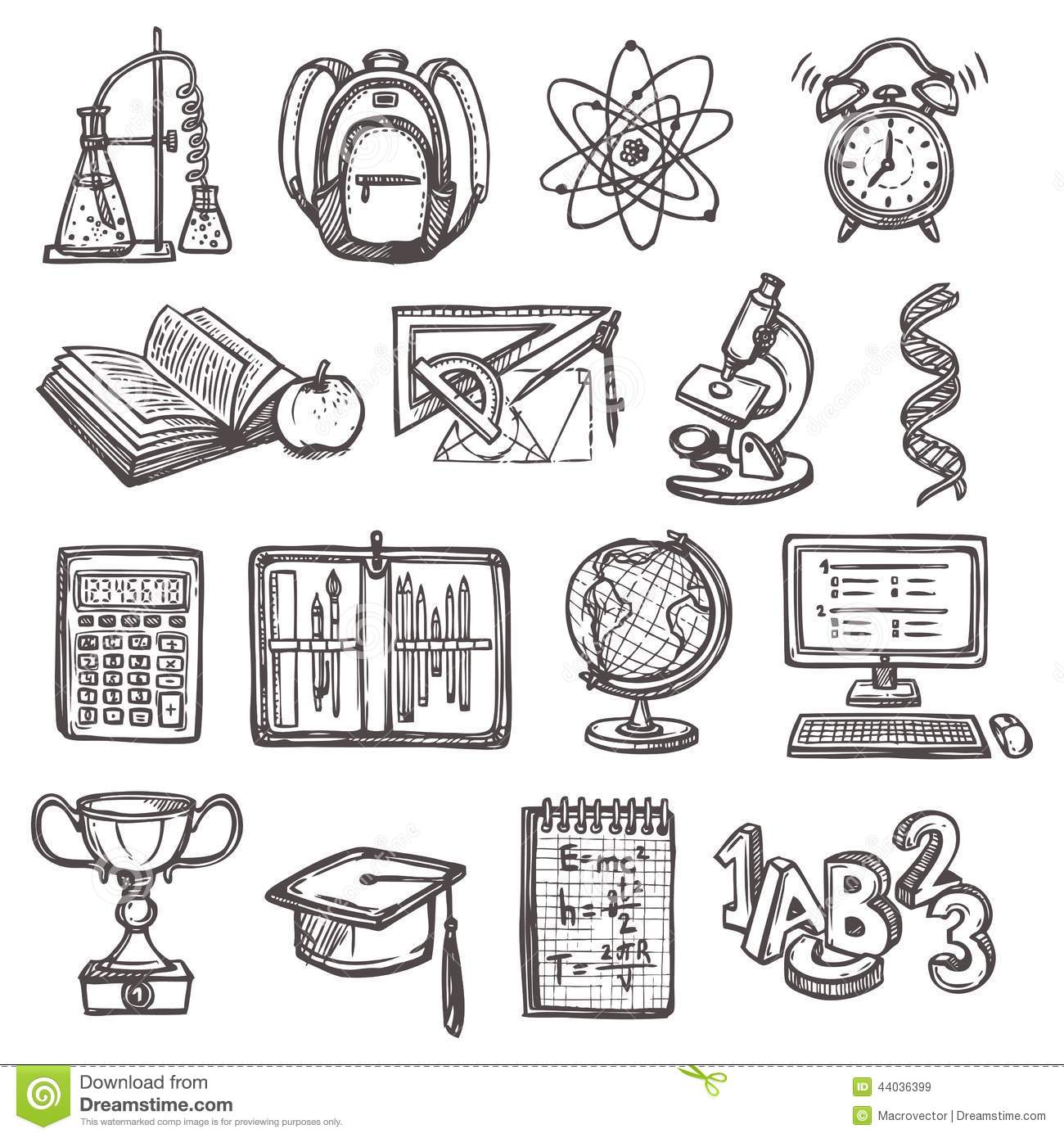 School Education Sketch Icons Stock Vector