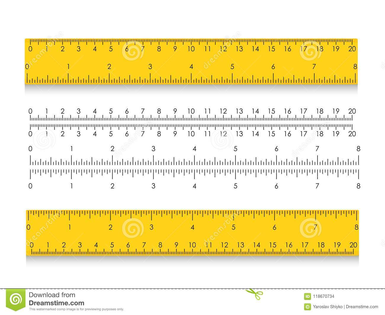School Measuring Ruler With Centimeters And Inches Size