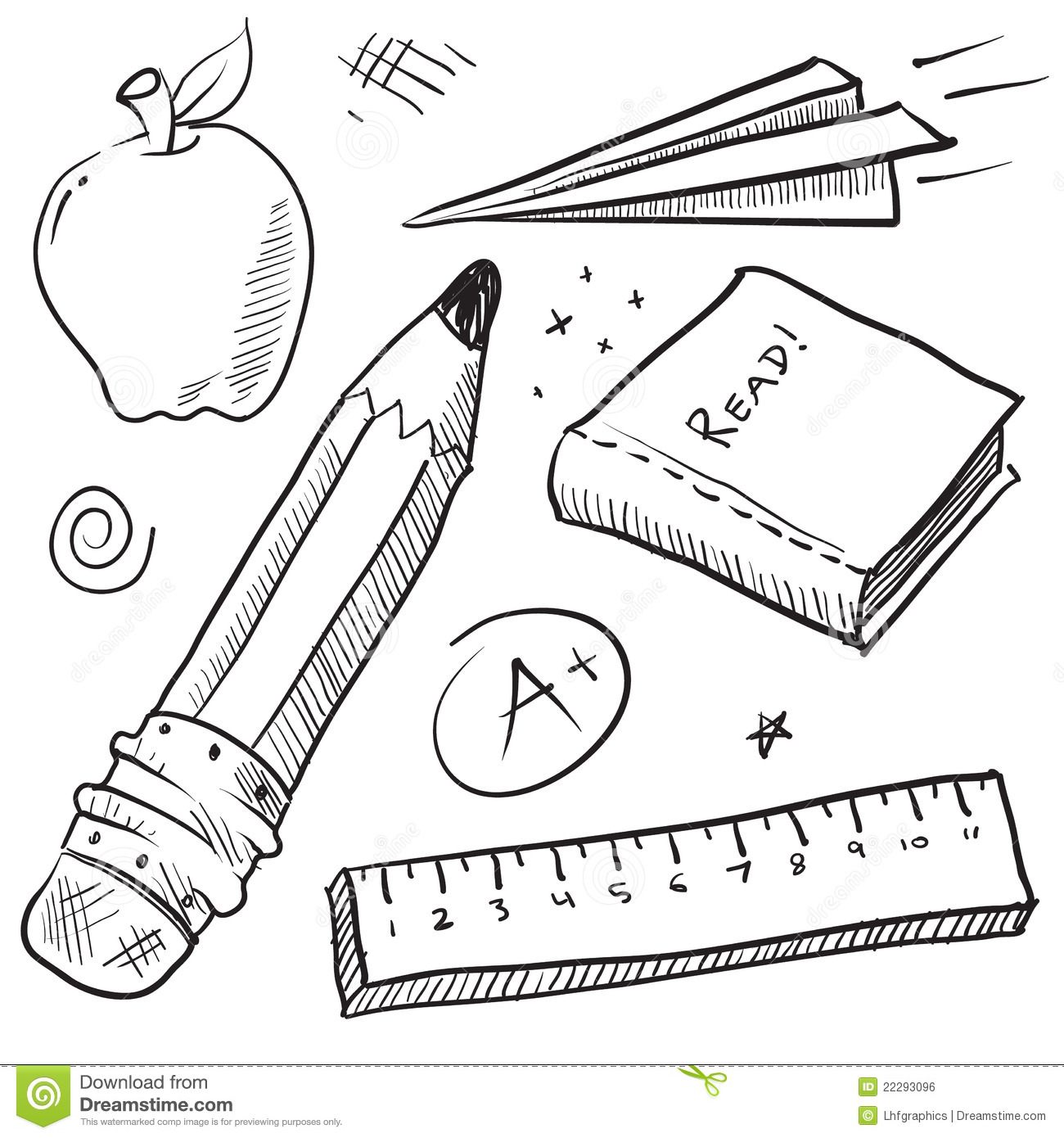 School Objects Illustration Stock Vector