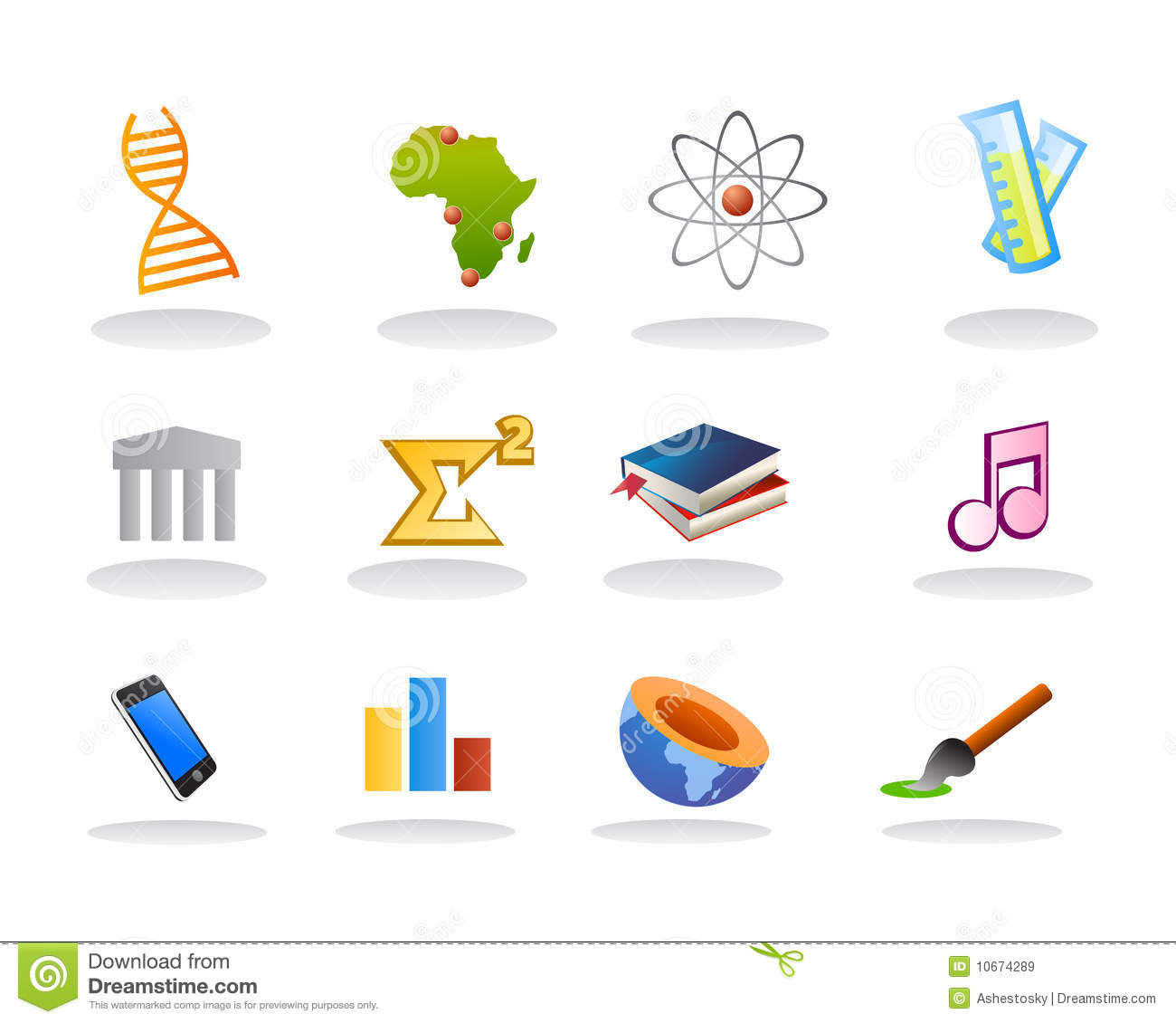 School Subject Icons Stock Vector Illustration Of Geology