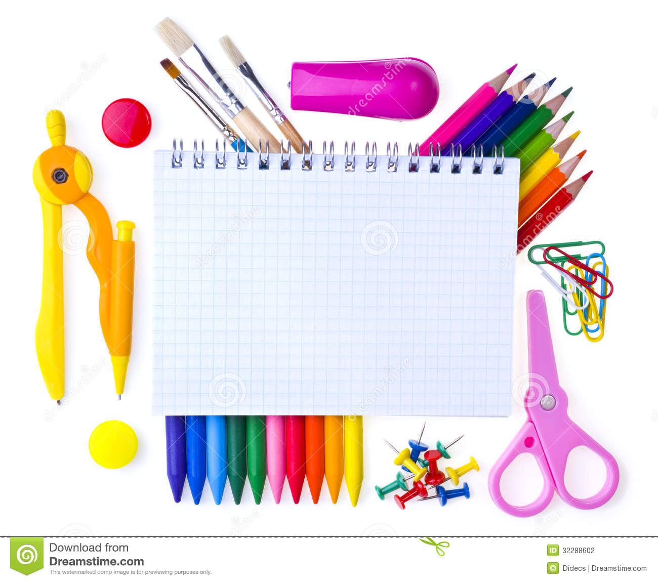 School Supplies Stock Photo Image Of Elementary Isolated