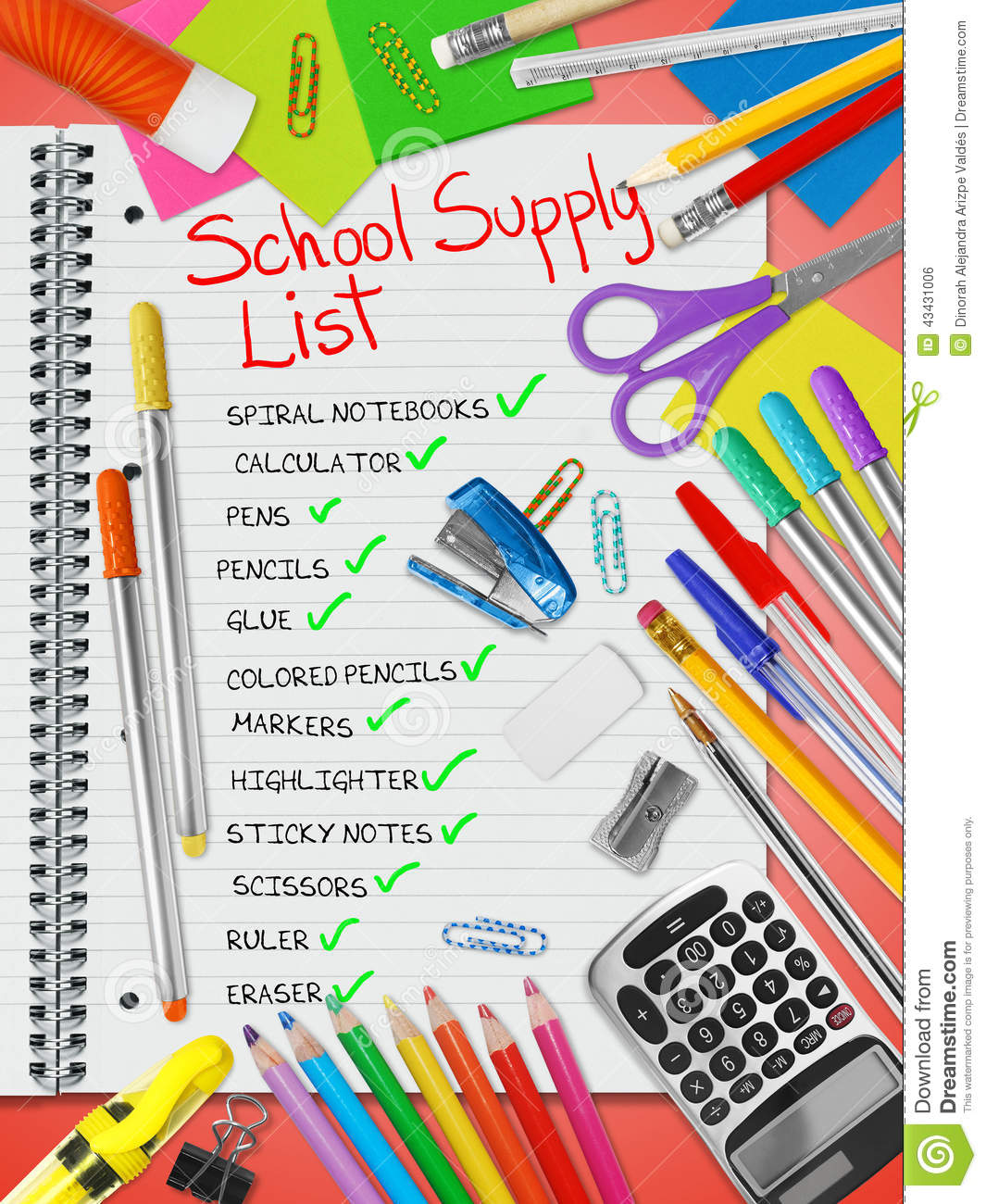 School Supply List Stock Photo Image Of Glue Lined