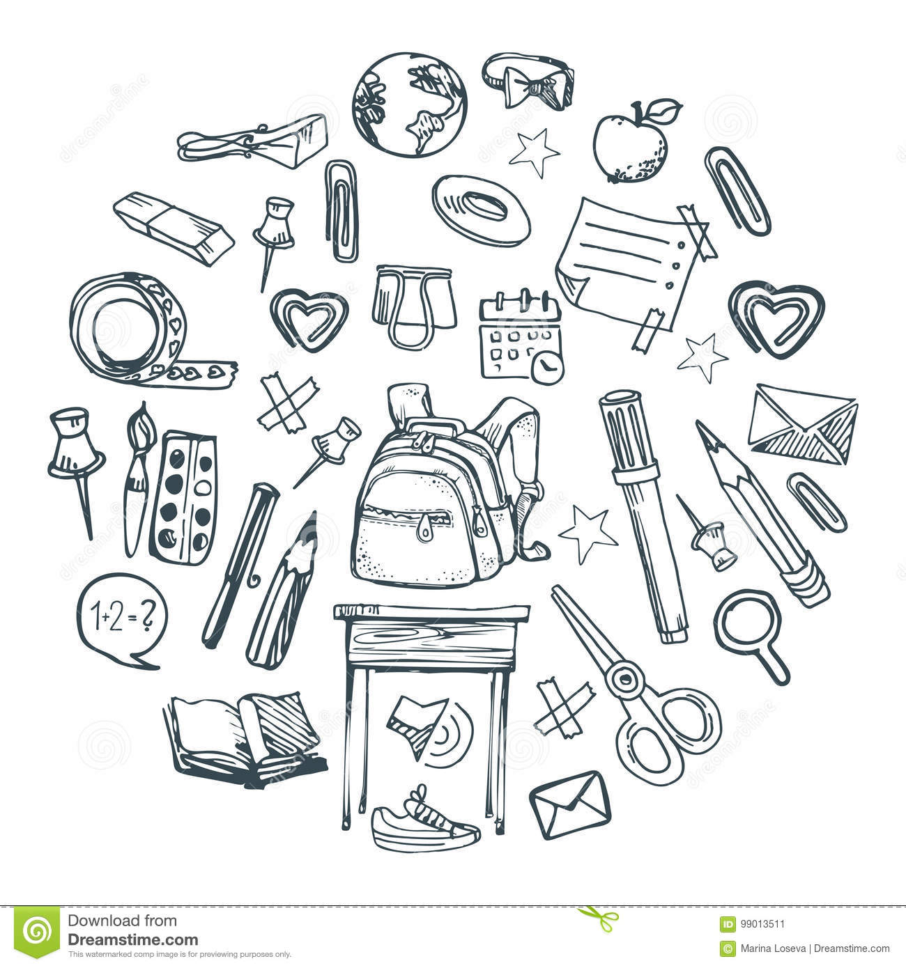 School Things Stock Vector Illustration Of Drawing Decor
