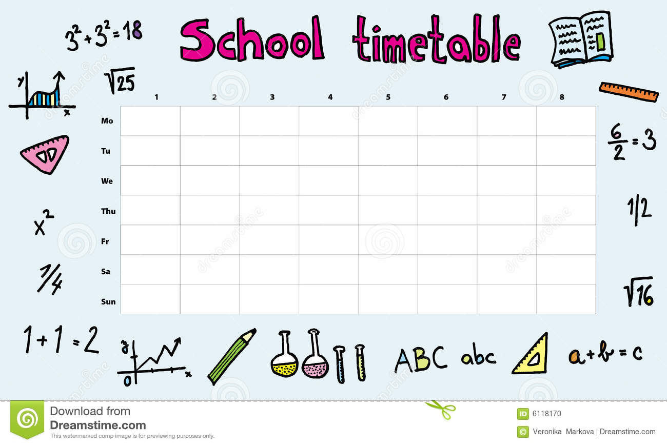 School Timetable Stock Vector Image Of Math Illustration