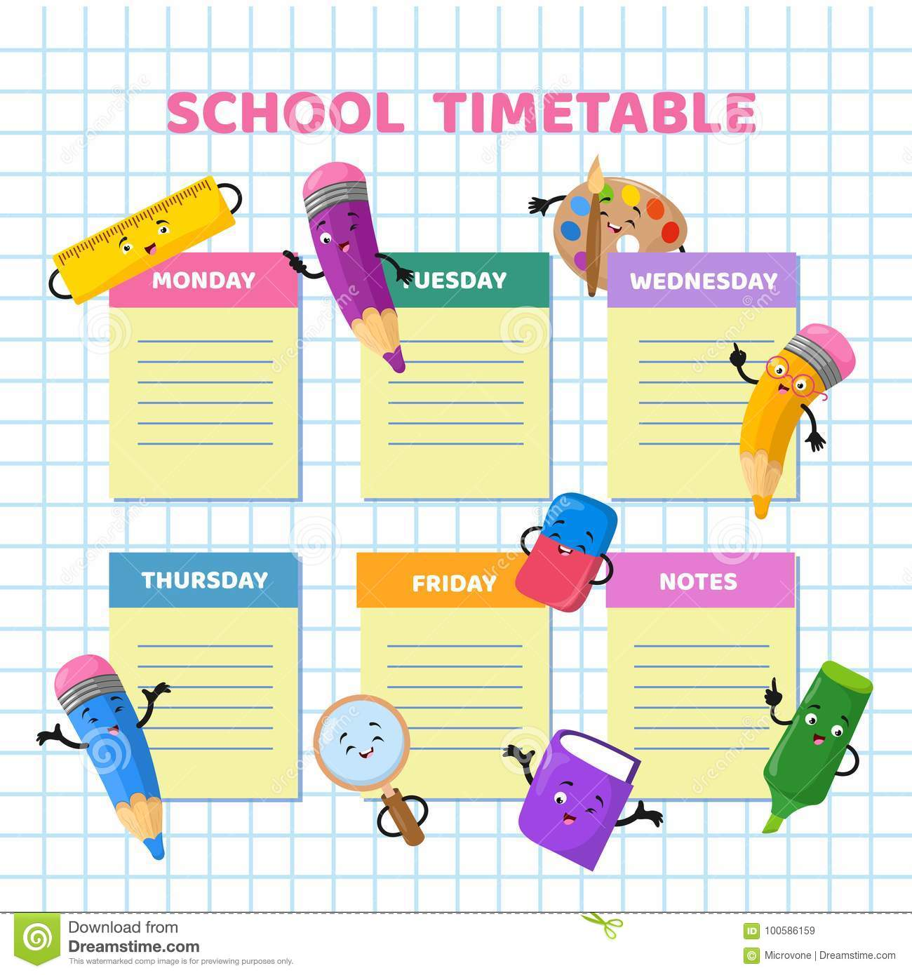 School Timetable With Funny Cartoon Stationery Characters