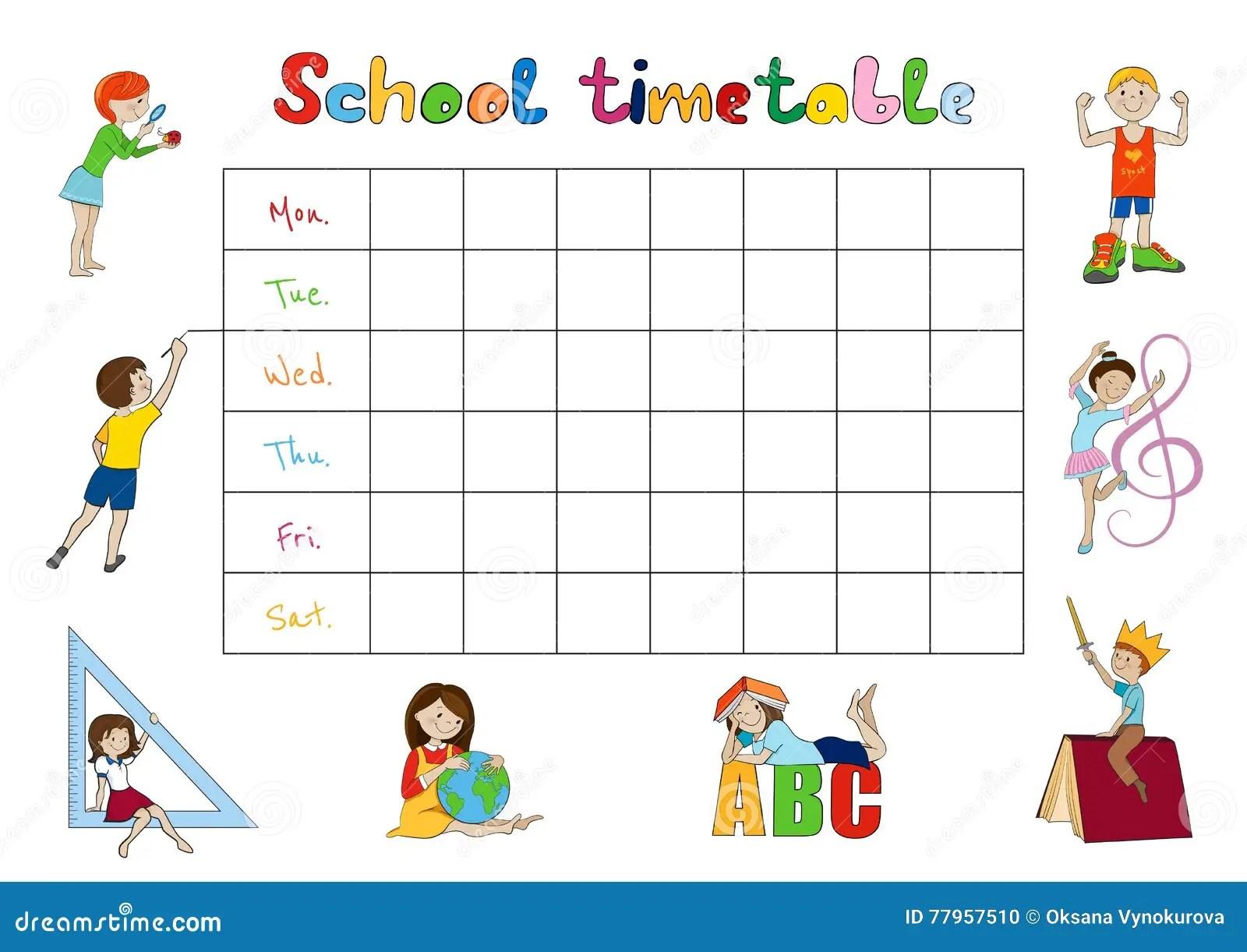 School Timetable Kids Weekly Planner Vector Stock Vector