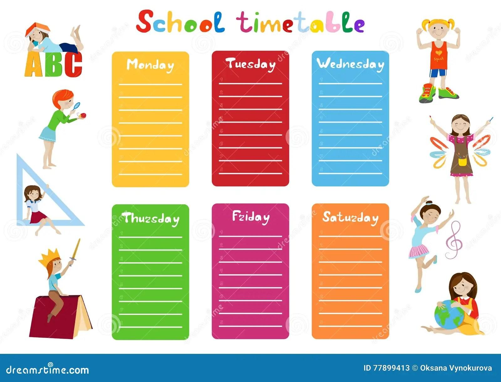 School Timetable Kids Weekly Schedule Vector Stock Vector