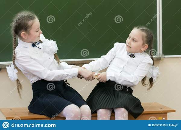 Schoolgirl Girls Are Taking A Book From Each Other. Stock ...