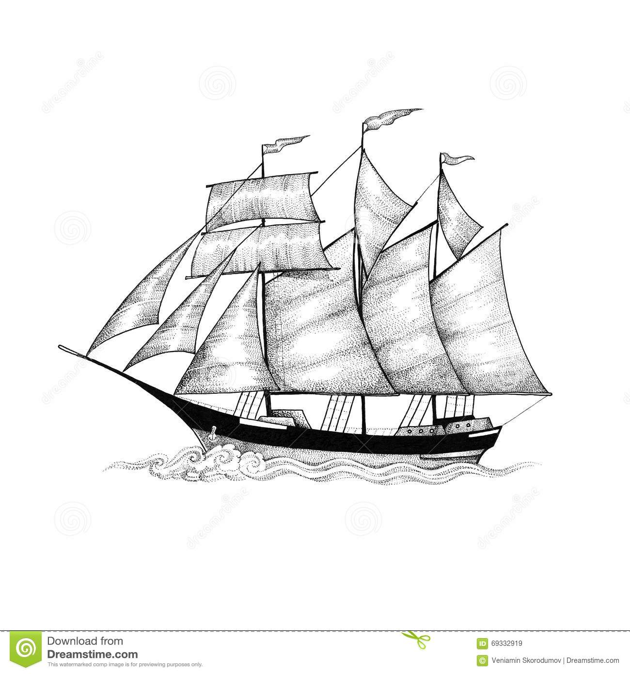 Schooner Sailing Ship Sliding On The Waves Stock
