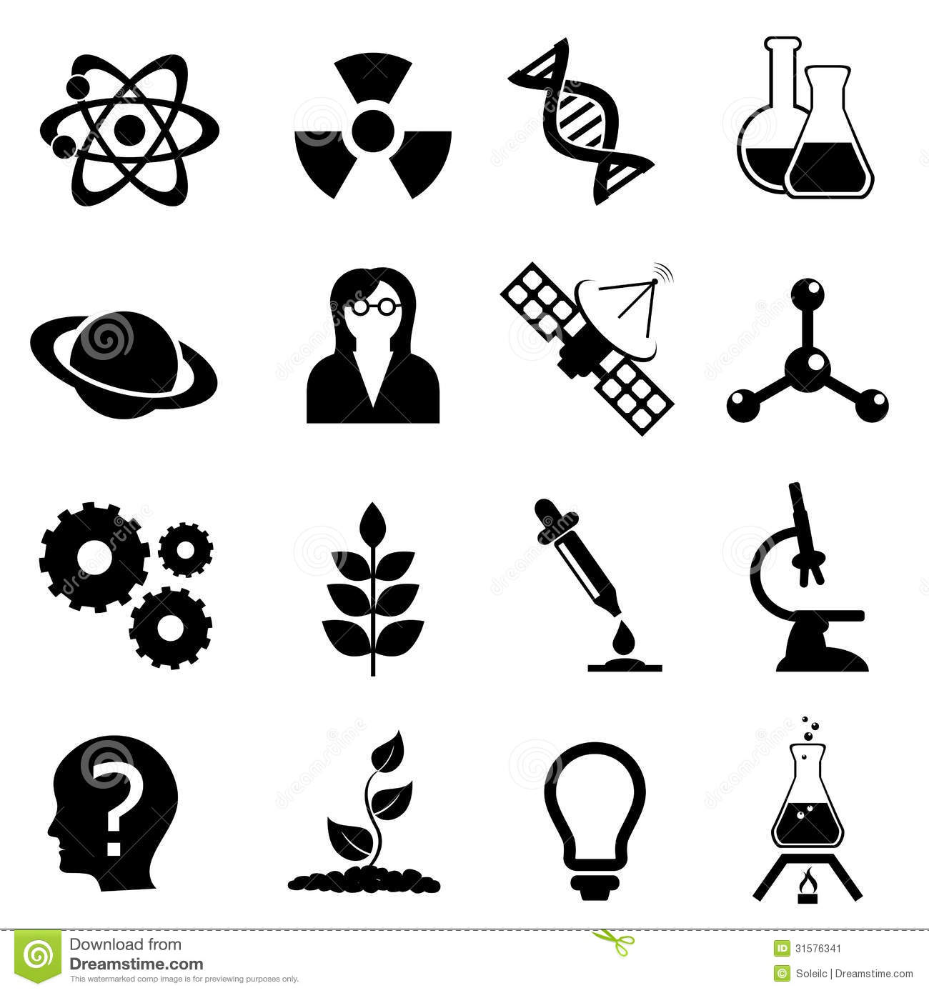 Science Biology Physics And Chemistry Icon Set Stock