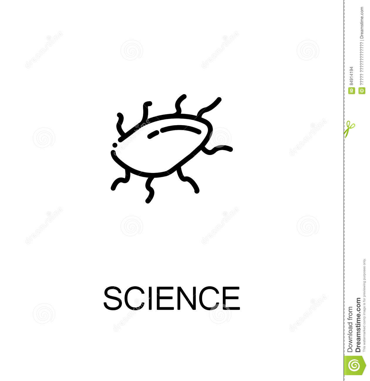 Microorganism Amoeba In Sketch Style Structure Vector Illustration