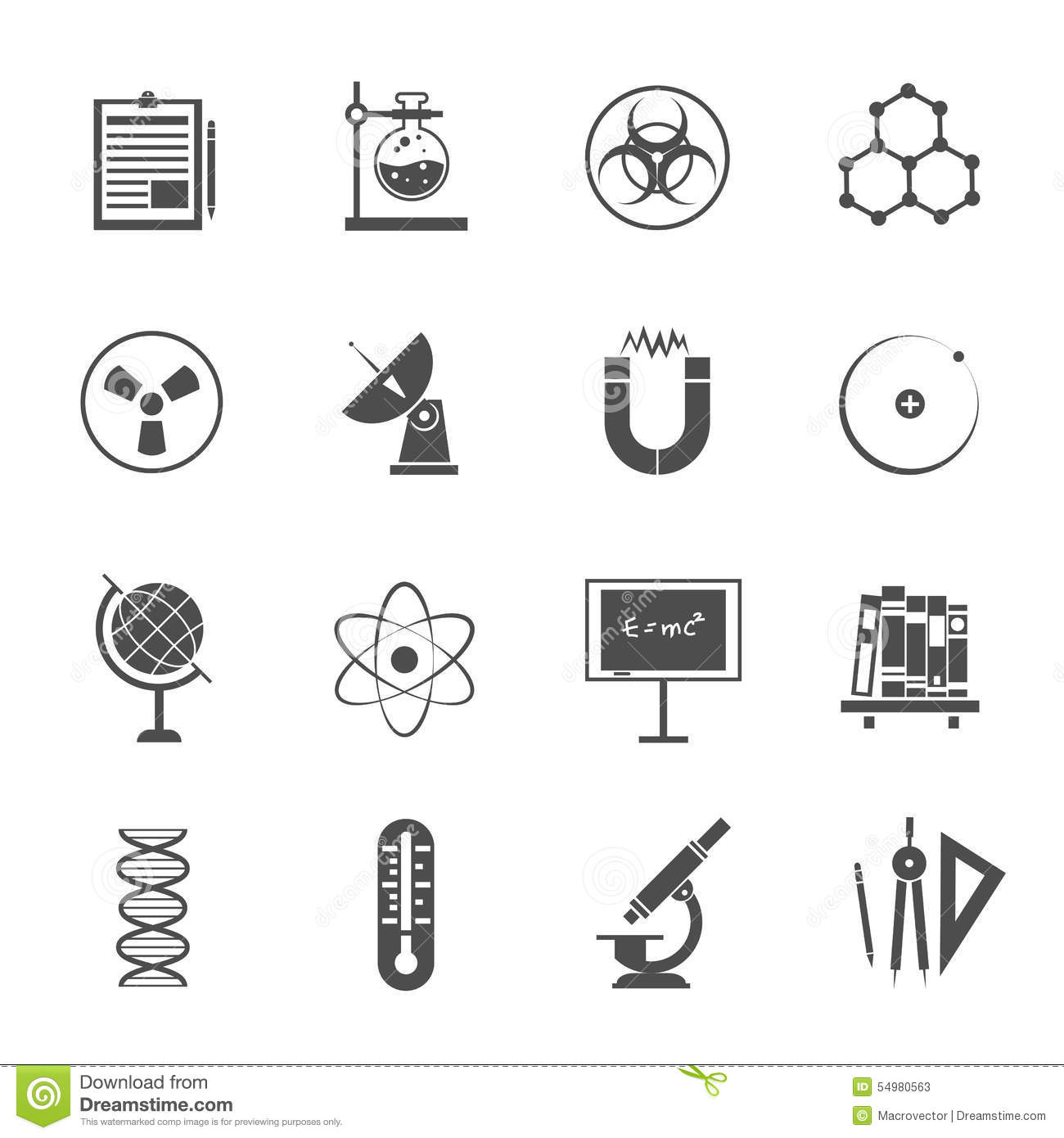 Science Black Icons Set Royalty Free Stock Photography