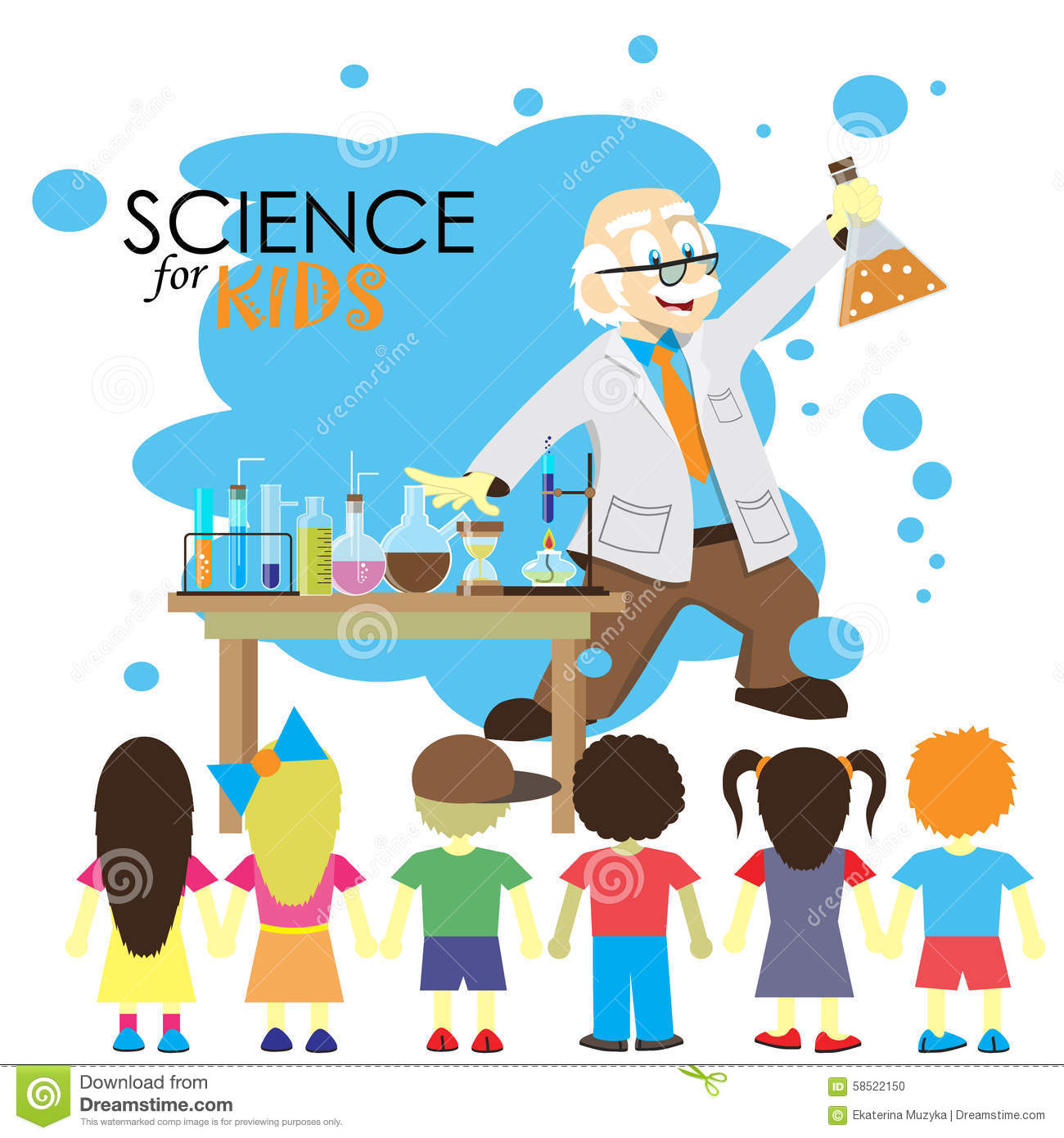 Science For Kids Cartoon Scientist Shows To Kids Stock