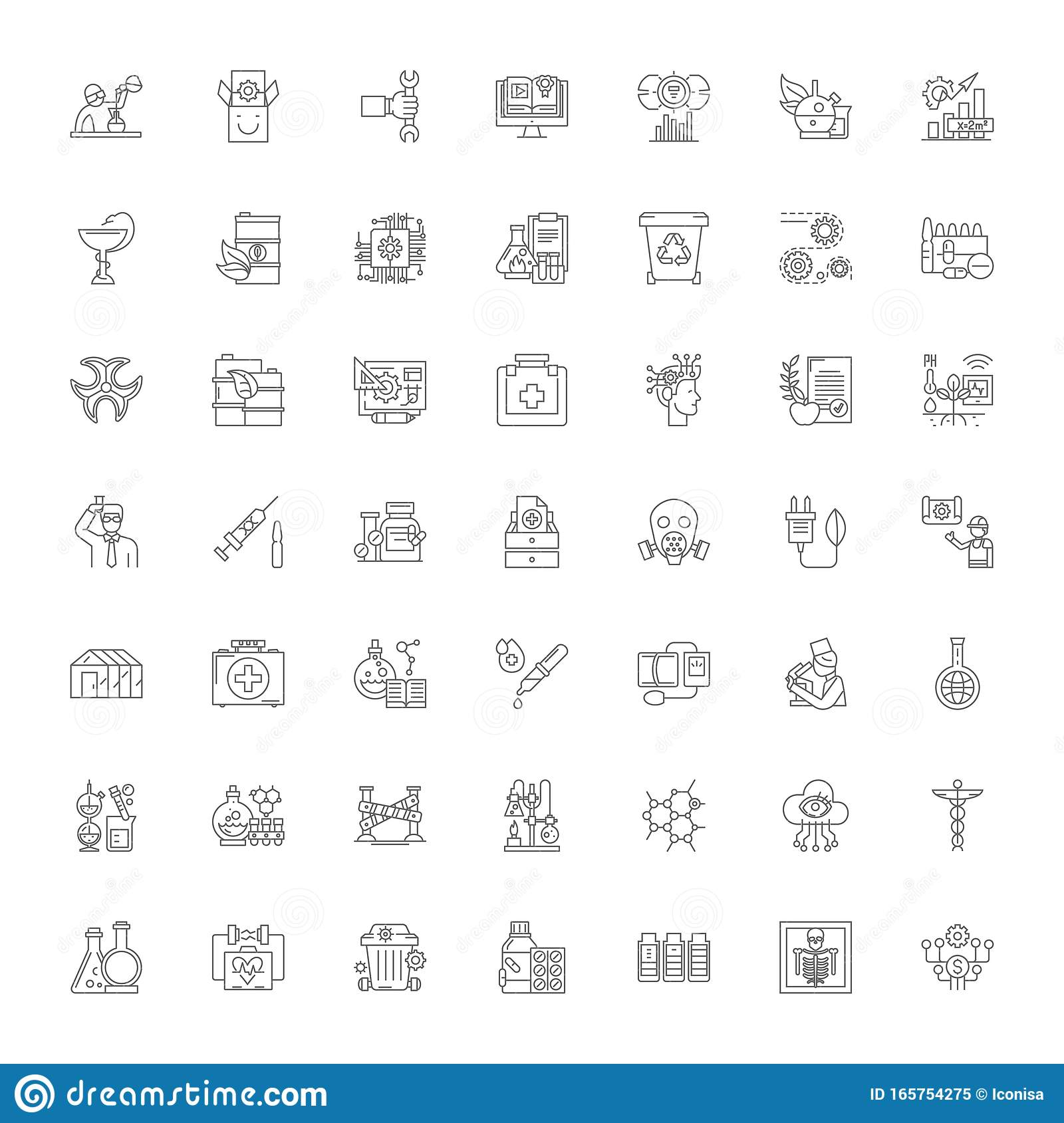 Science Lab Linear Icons Signs Symbols Vector Line