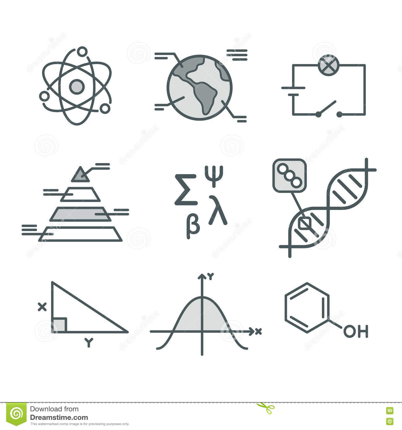 Science Symbols Set Stock Vector Illustration Of Math