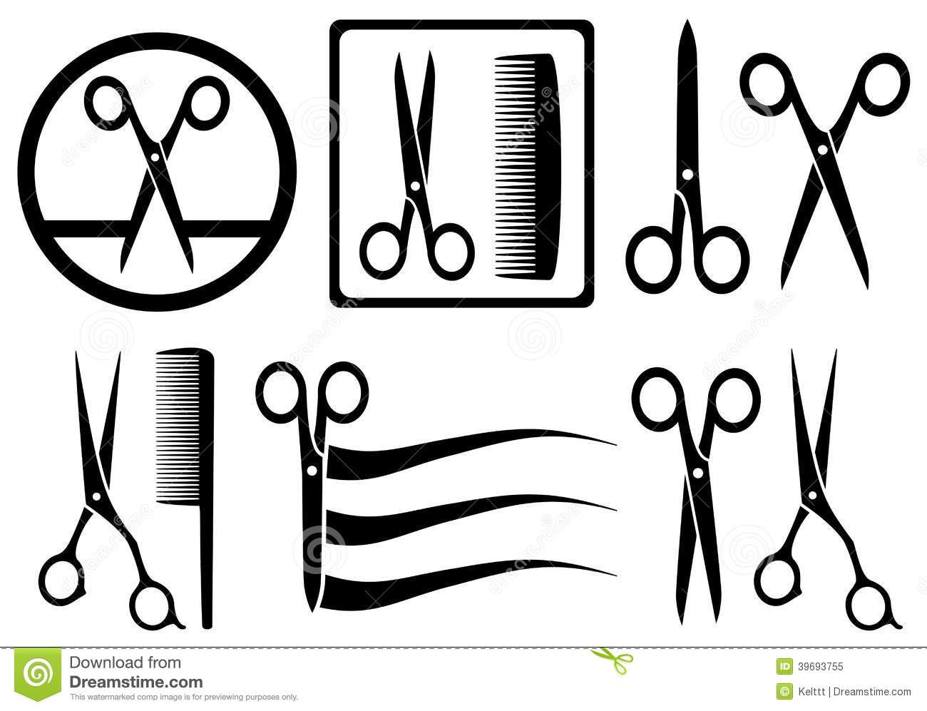 Scissors Icons With Comb For Hair Salon Stock Vector