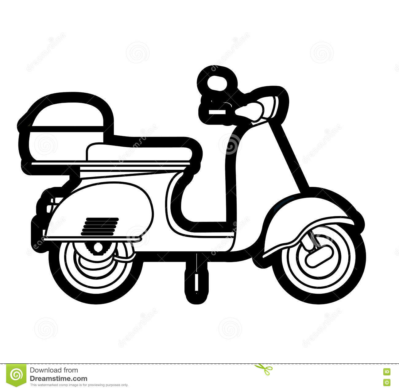 Scooter Drawing Isolated Icon Design Stock Vector