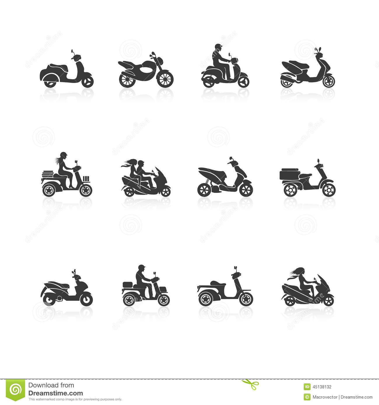 Scooter Icons Set Stock Vector