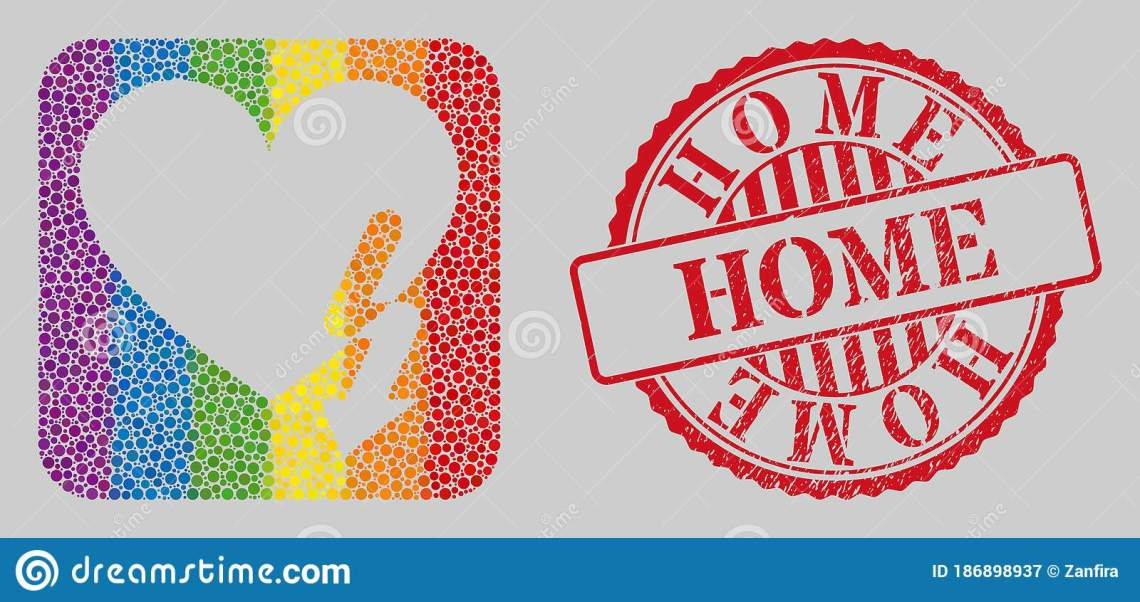 Download Scratched Home Stamp Seal And Mosaic Love Heart Strike ...