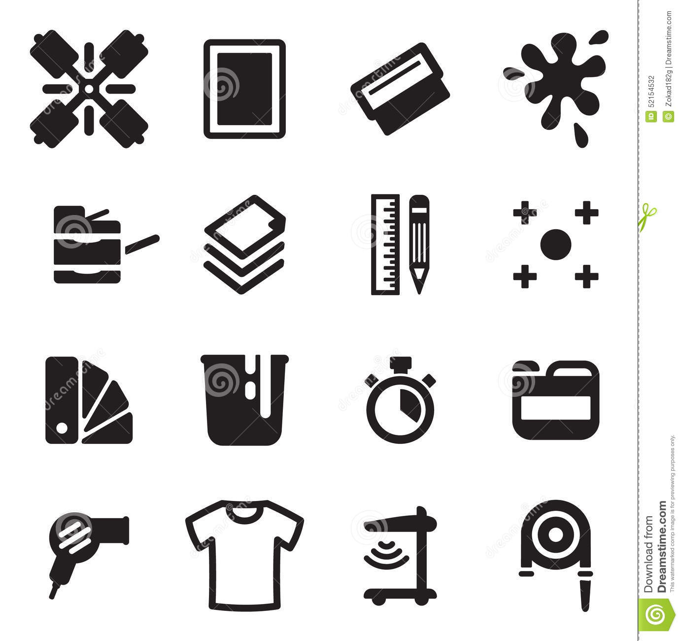 Screen Printing Icons Stock Vector Illustration Of Kine