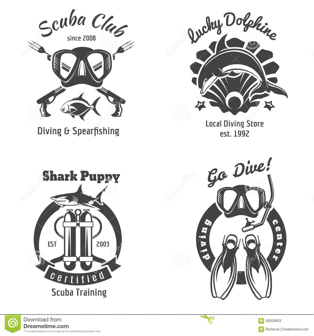Scuba Diving Club Labels Set Underwater Swimming Stock