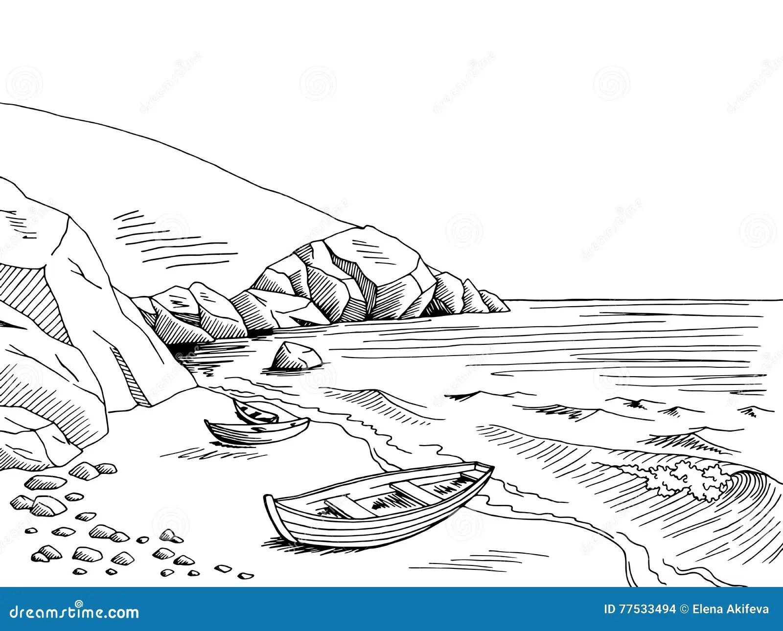 Sea Boat Graphic Art Black White Landscape Sketch
