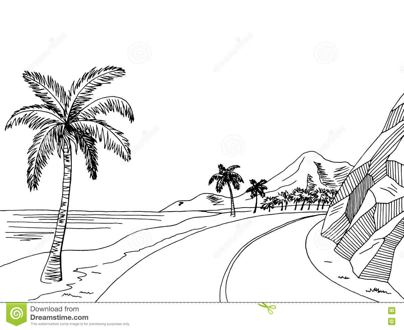Sea Coast Road Graphic Art Black White Landscape Sketch