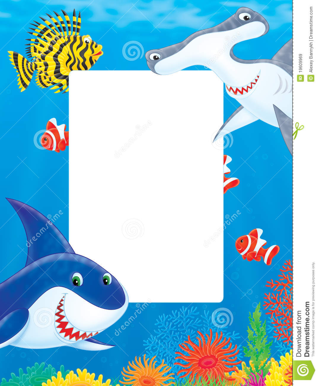 Sea Frame With Sharks And Fishes Royalty Free Stock Images