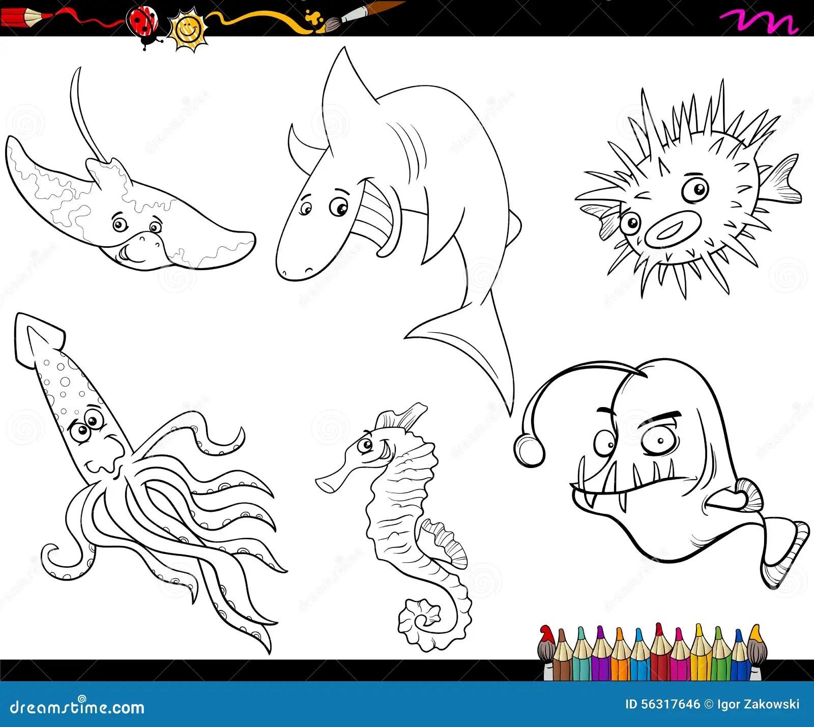Sea Life Animals Cartoon Coloring Book Cartoon Vector