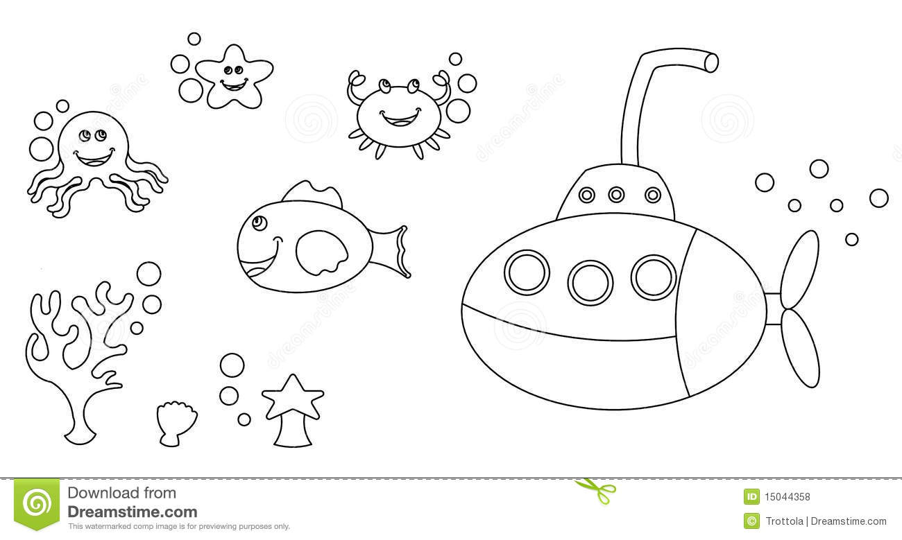 Sea Life Characters Colouring Stock Illustration