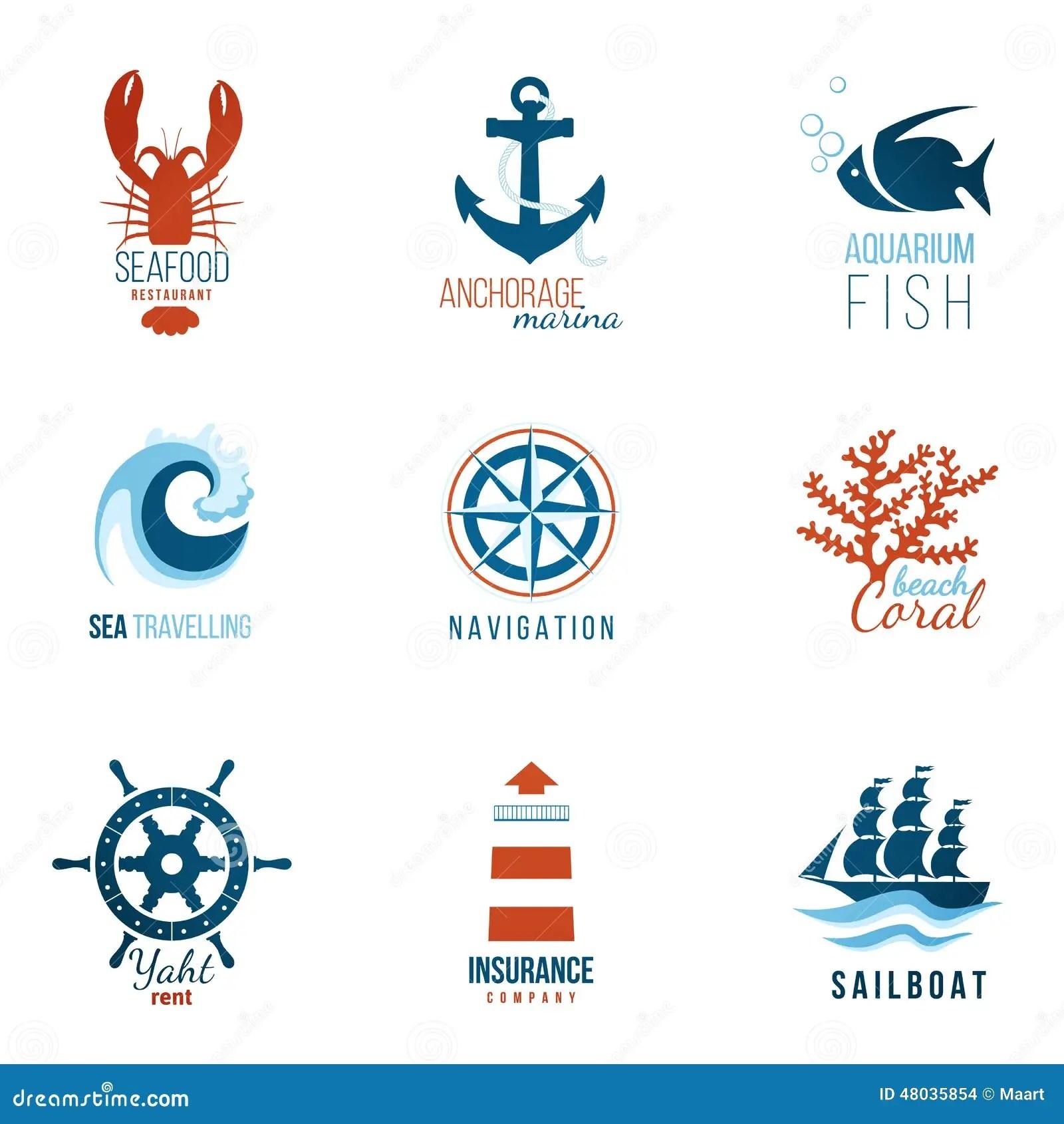 Sea Theme Logo Templates Stock Vector